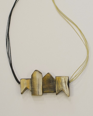Complementary,2013, necklace, wood, acrylic pigment, sterling silver, photo by Yannis Mathioudakis