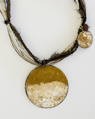 Earth, 2013, necklace, painted bronze(acrylic pigment), line, silk, lava, 