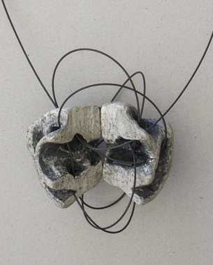 Necklace 2013, [9,5x12x4,5cm] Papier mache, oxidised sterling silver, wire rope