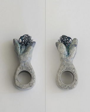 Stone, 2013, ring, silver, iron wire, resin, papier mache, acrylic pigment,