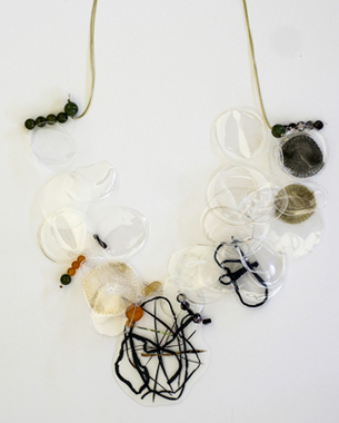 Transparency 2, 2013,necklace, recycled plastic, laminated paper and metal wired surface, semi precious stones, wax cord, photo by Yannis Mathioudakis