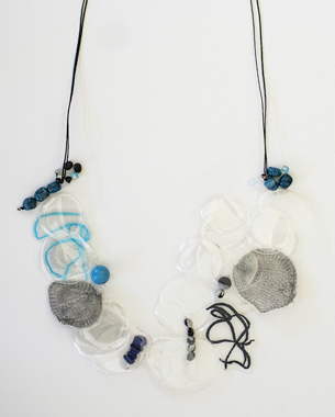 Transparency 3, 2013,necklace, recycled plastic, laminated paper and metal wired surface, semi precious stones, wax cord, photo by Yannis Mathioudakis