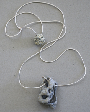 Necklace 2013, [5x8,5x5cm] Papier mache, iron wire, acrylic pigment, oxidised sterling silver