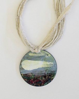 Cloud, 2013, necklace, painted bronze(acrylic pigment), line, silk, lava, 
