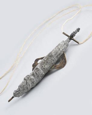 Weapon 02, 2015 Pendant Bronze, concrete, rope Photo: Yannis Mathioudakis